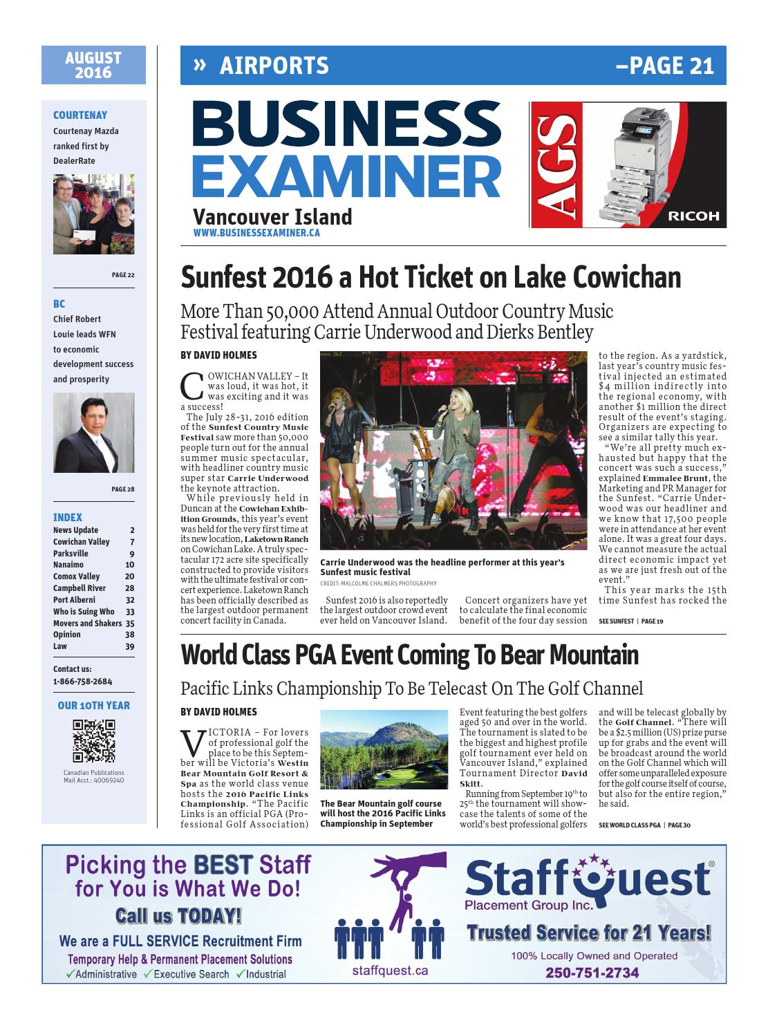 Business Examiner Vancouver Island - August 2016 by Business Examiner Media  Group - issuu