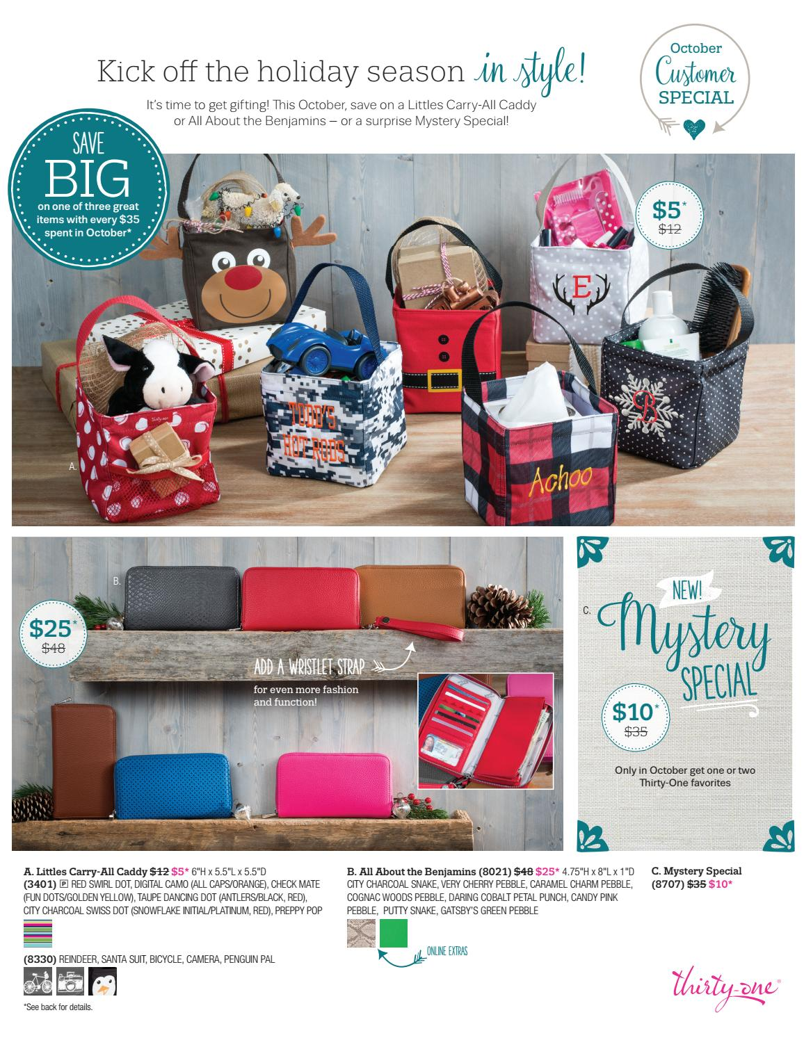 e6d3236b93c7 Thirty-One October 2016 Specials by Carrie Saunder's ThirtyOne Gifts ...