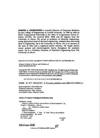 Electromagnetics Schaum 2nd Edition Joseph A Ediminister By