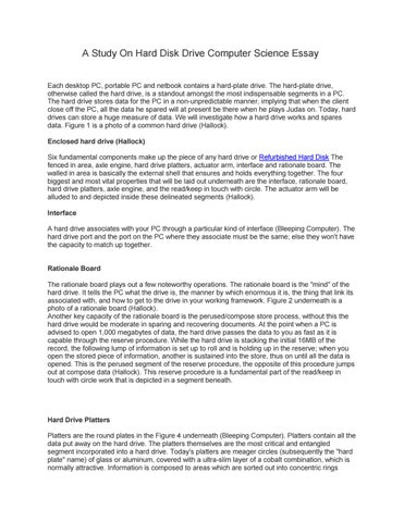 a study on hard disk drive computer science essay by ustore  a study on hard disk drive computer science essay each desktop pc portable  pc and netbook contains a hardplate drive the hardplate drive