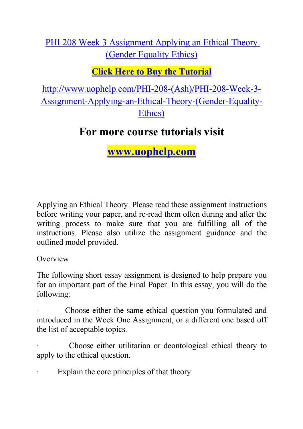 Thesis For Argumentative Essay Phi  Week  Assignment Applying An Ethical Theory Gender Page  Phi   Week  Assignment Applying Fefede Gender Equality Essay Paper Is English Essay also Essay On English Subject Gender Equality Essay Paper Is Happy New Year Business Letter  Response Essay Thesis