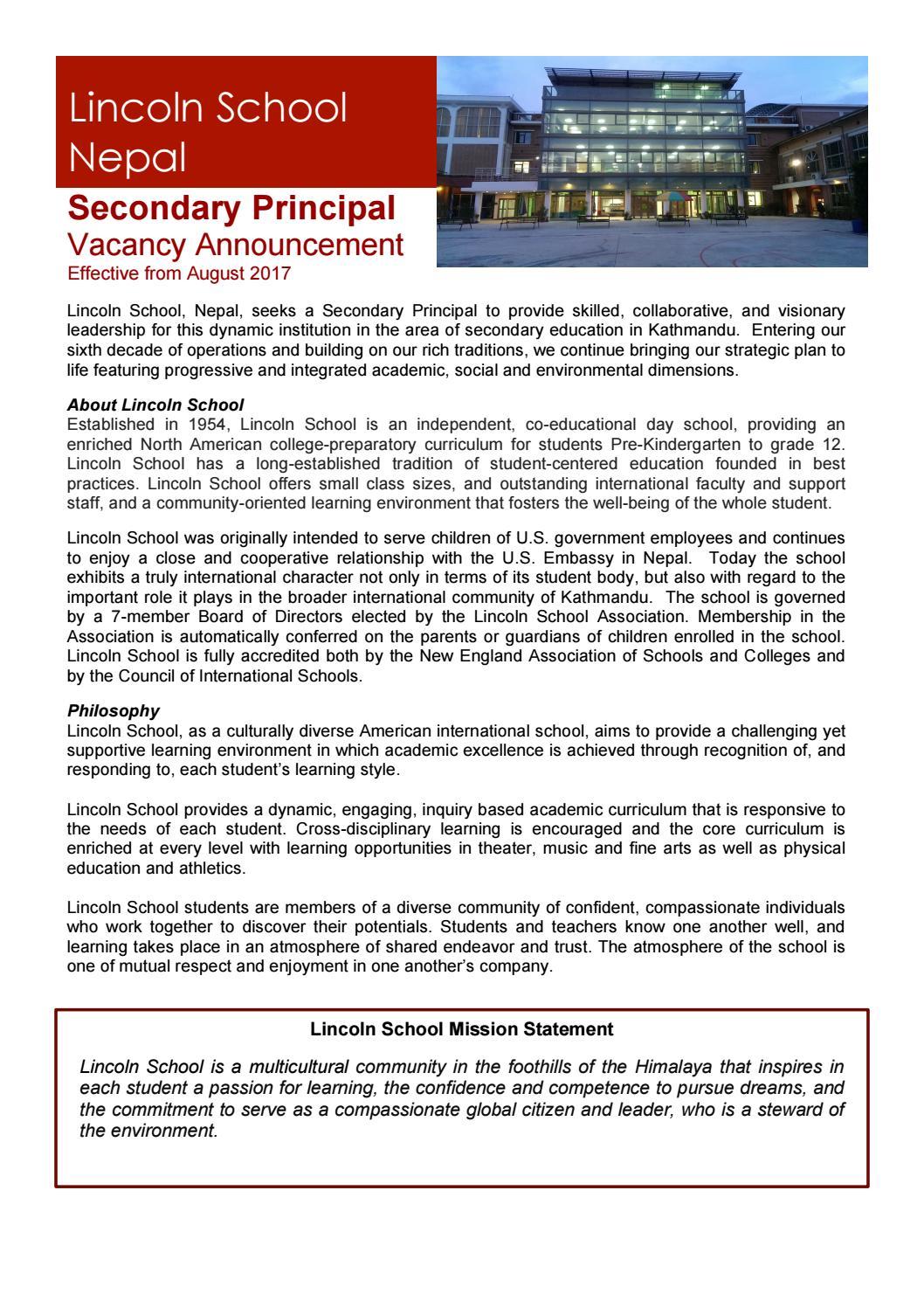 Lincoln School Nepal Secondary Principal by International