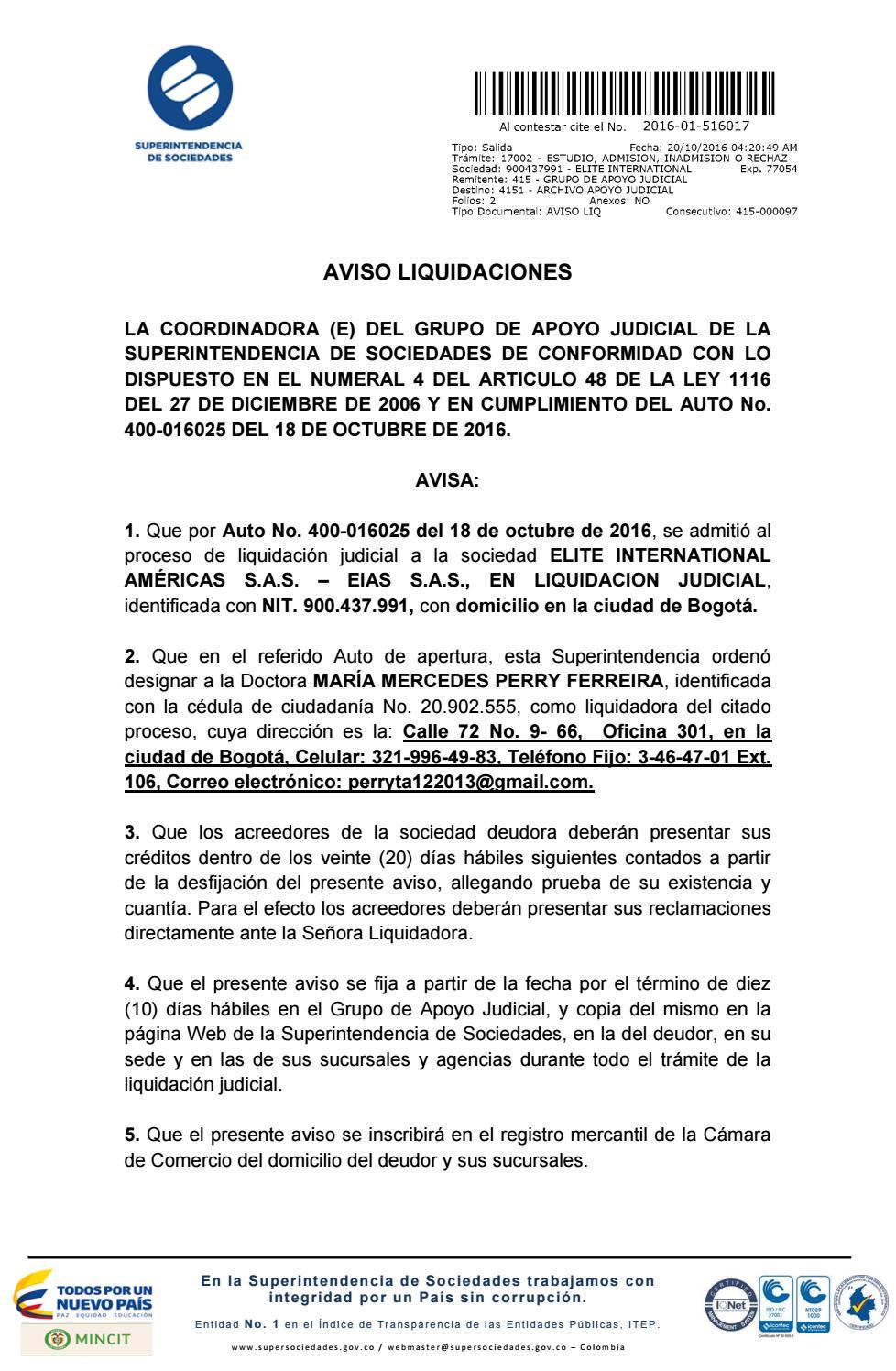 Aviso Liquidación by ELITE INTERNATIONAL AMERICAS NIT: 900437991-5 ...