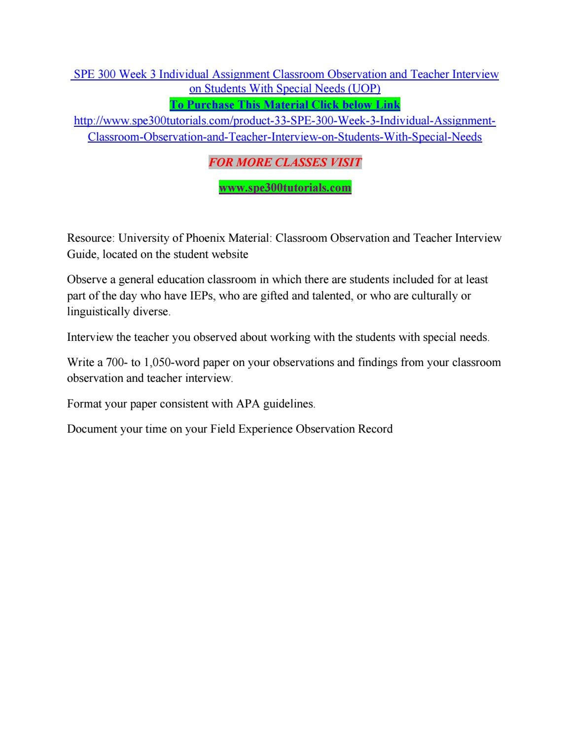 Spe 300 week 3 individual assignment classroom observation