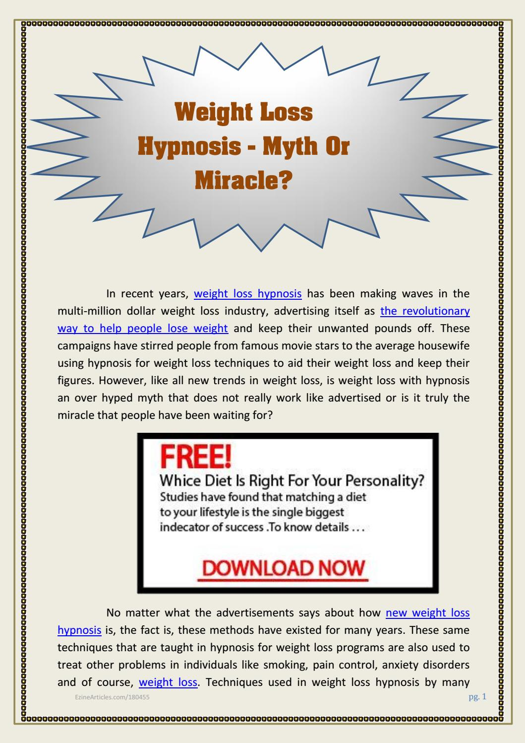 Free Hypnosis Weight Loss Downloads