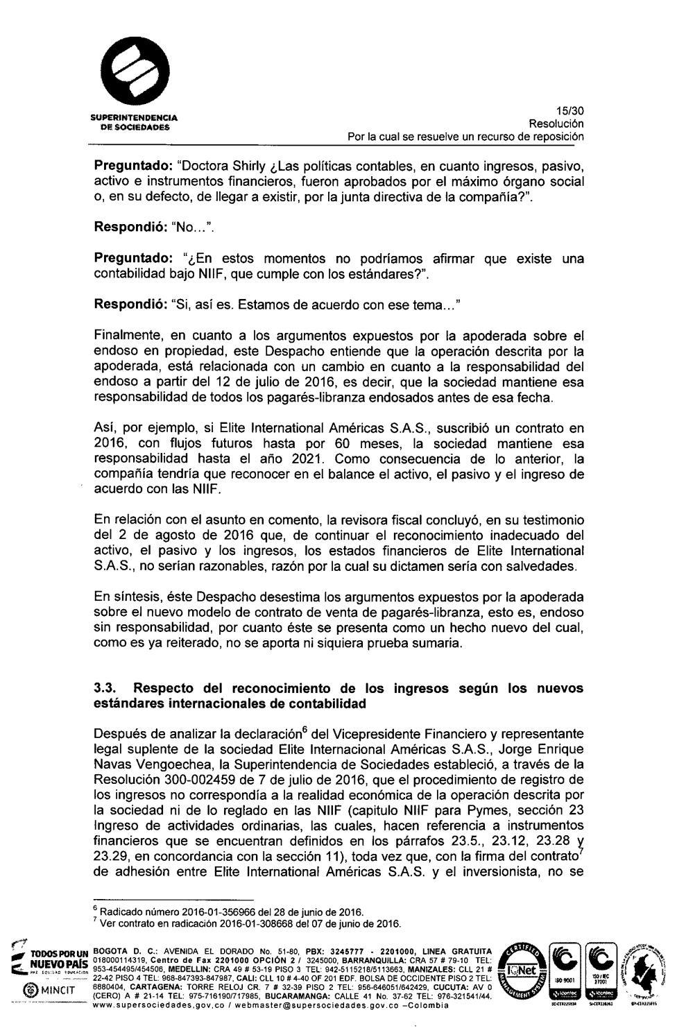 Resolución No 100-002958 by ELITE INTERNATIONAL AMERICAS NIT ...
