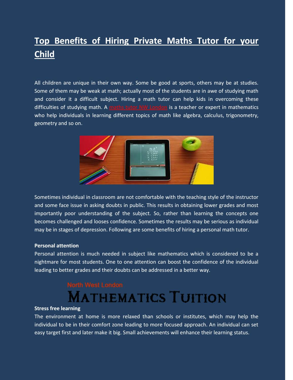 Top benefits of hiring private maths tutor for your child by ...