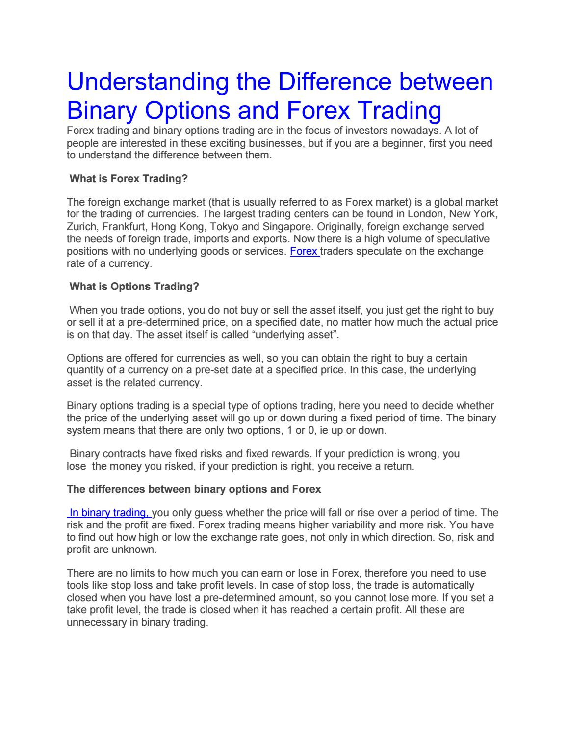 Difference between forex and binary options software for binary options