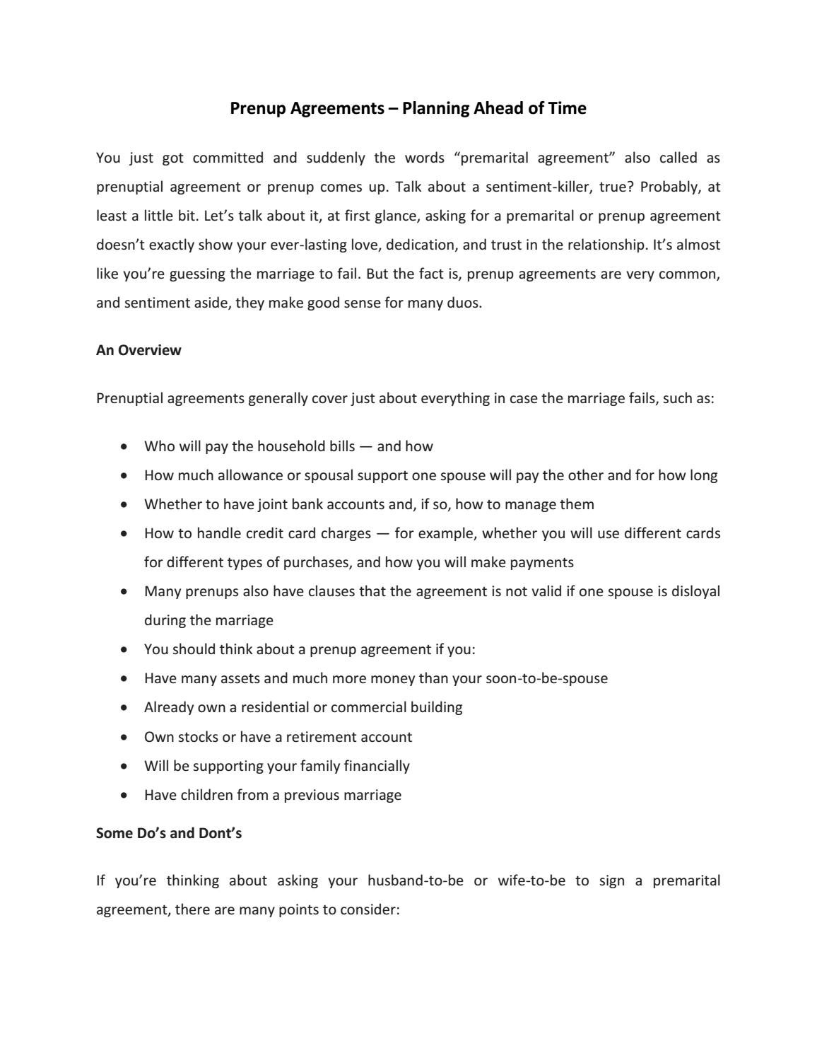 prenup agreements examples