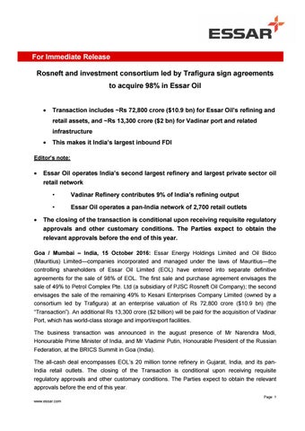 Press release fdi by Nayara Energy - issuu