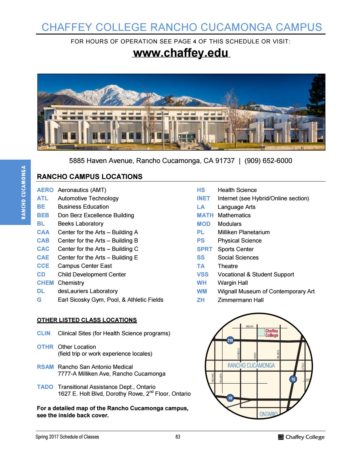 Spring 2017 Complete Schedule Of Classes By Chaffey College Issuu