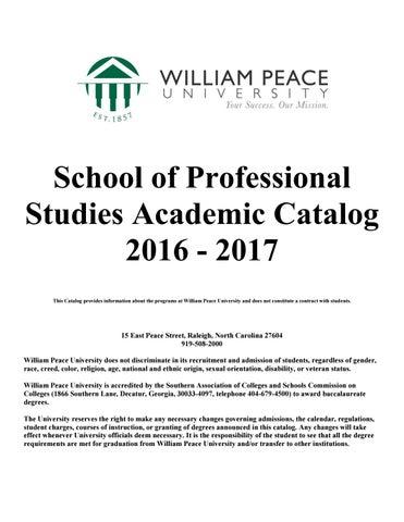 SPS Academic Catalog 2016-2017 by William Peace University
