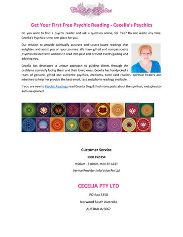 Get Your First Free Psychic Reading - Cecelia's Psychic