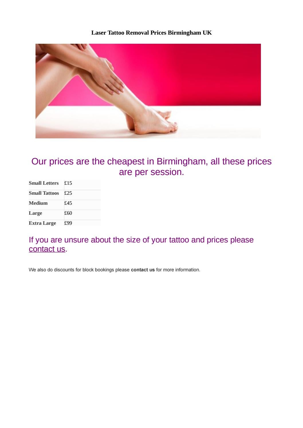Laser Tattoo Removal Prices Birmingham UK by Unwanted Tattoos - issuu