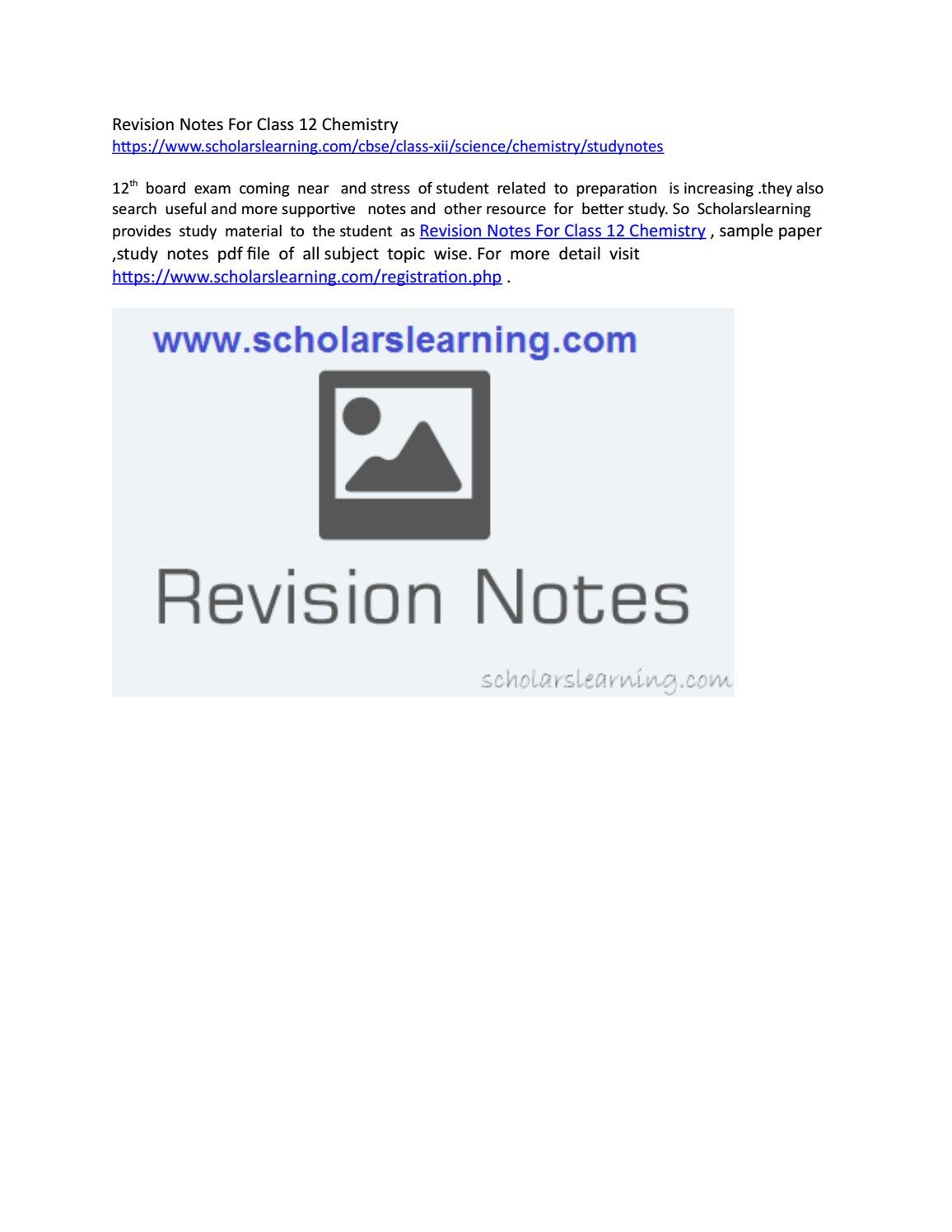 Revision notes for class 12 chemistry by Scholars Learning