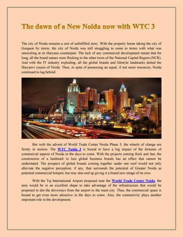 The dawn of a new noida now with wtc 3 by WTC NOIDA - issuu