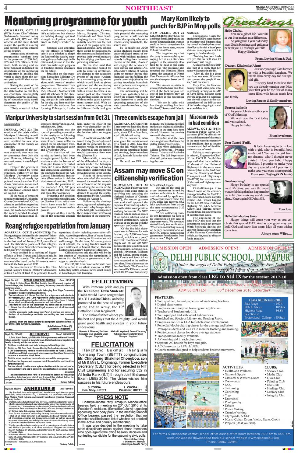 October 23, 2016 by Nagaland Post - issuu