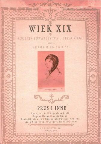Wiek Xix Rocznik Towarzystwa Literackiego Im Adama
