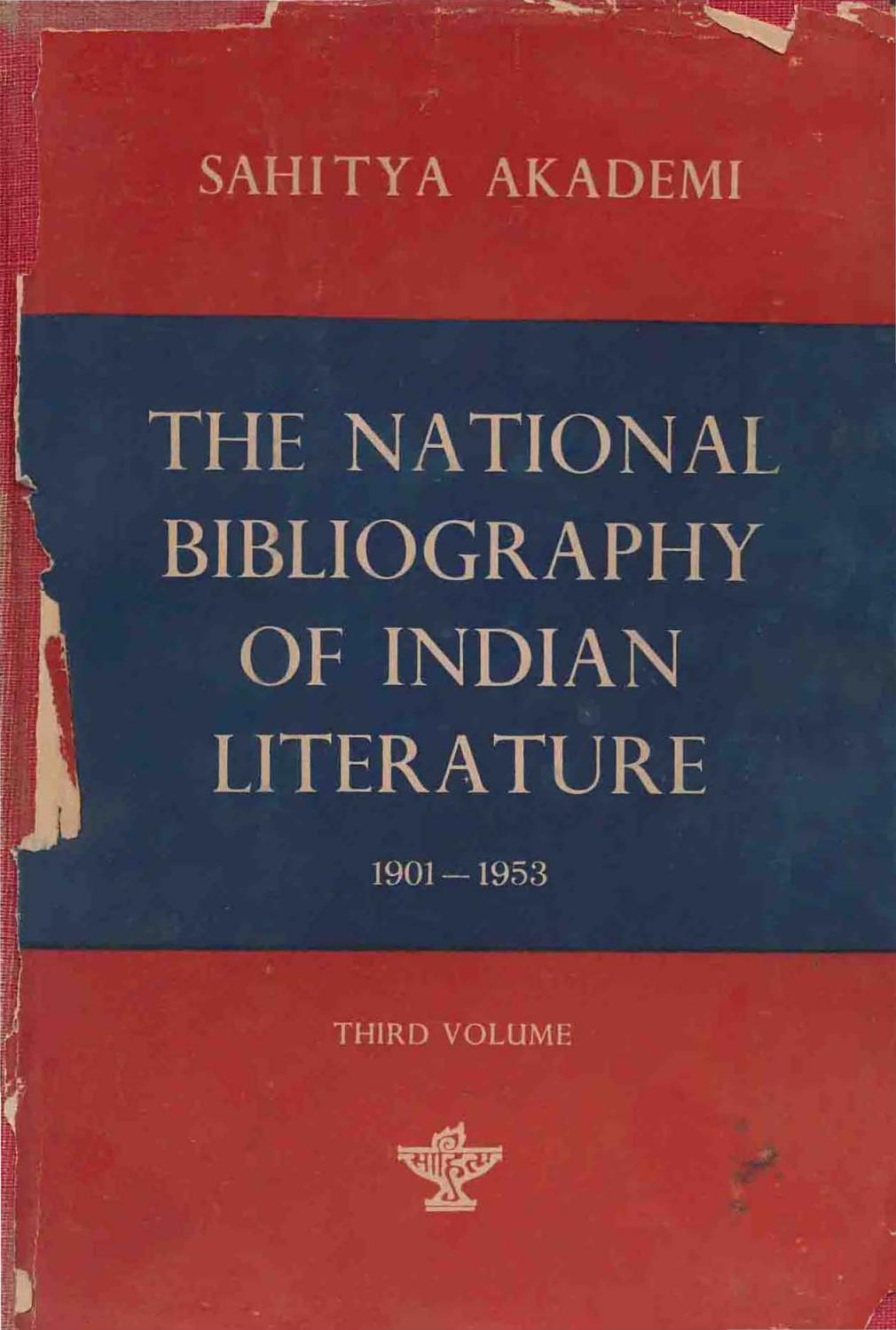 The national bibliography of indian literature (1901 1953