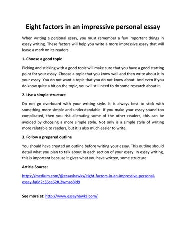 Eight Factors In An Impressive Personal Essay By Essayhawks  Issuu