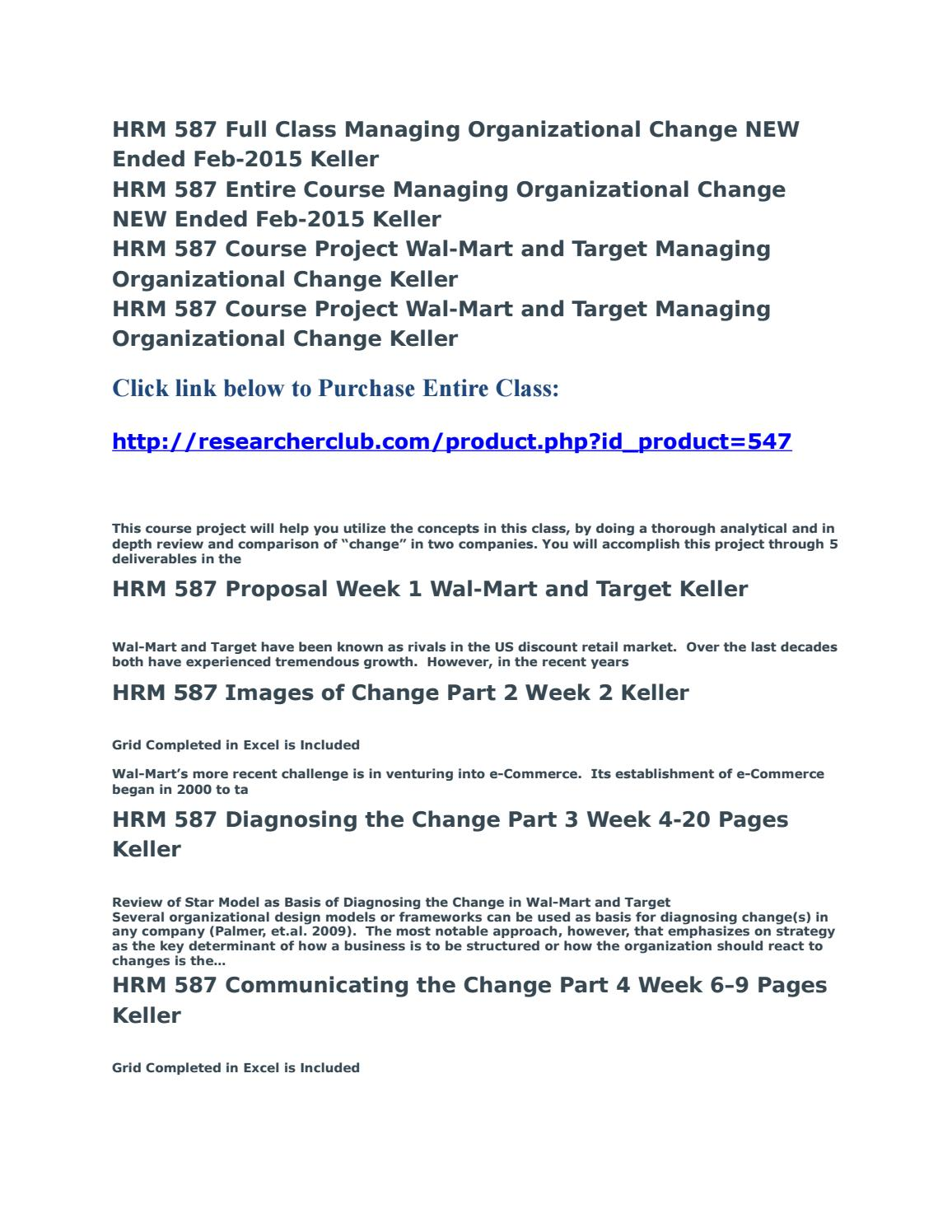 hrm 587 course project This file of hrm 587 week 2 course project managing organizational change part 2 covers:the images section focuses on the six different images of managing change and how each approach to change effects all that follows in its implementation and continued support.