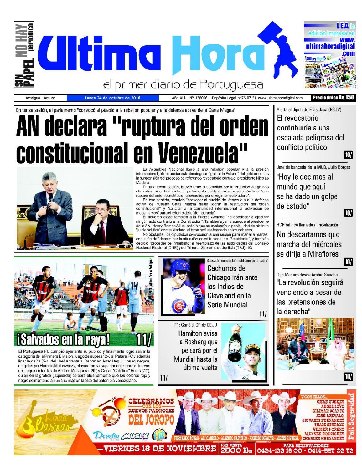 Edicion 24 10 2016 by Ultima Hora - El primer diario de Portuguesa ...