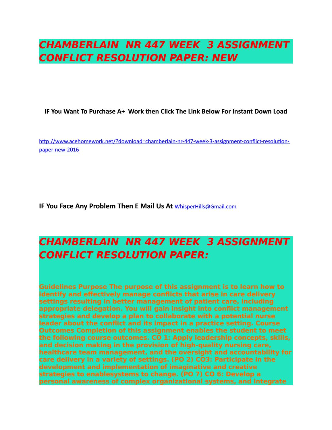 Conflict resolution papers