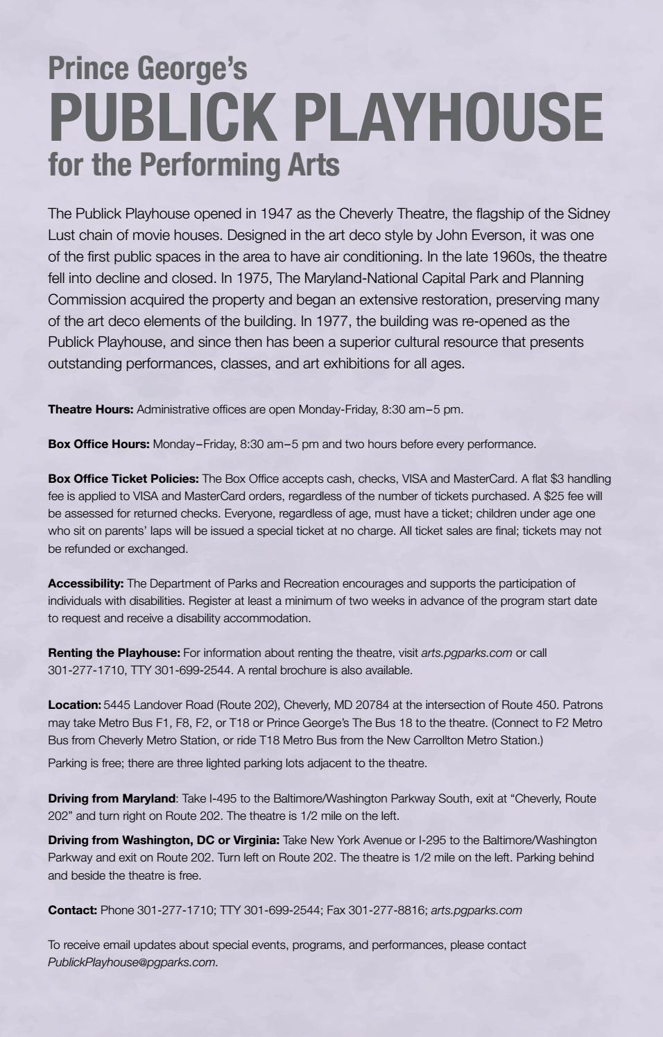 Publick Playhouse Brochure, 2016-2017 by M-NCPPC, Department of