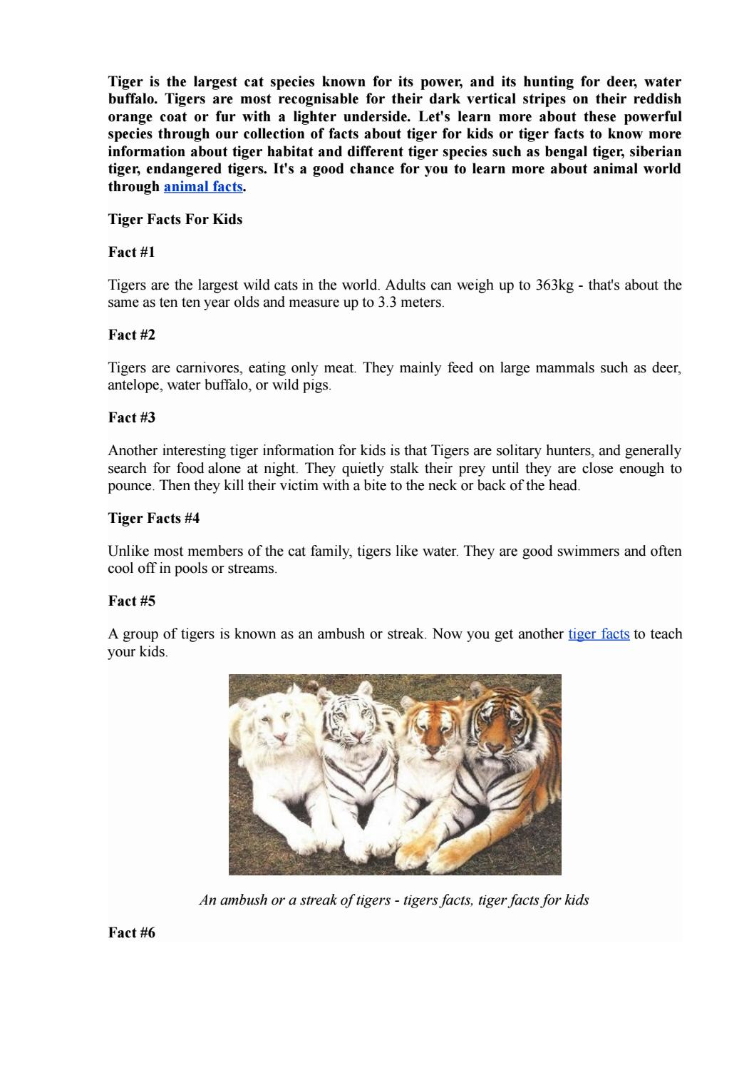 Fun And Cool Tiger Facts For Kids By Xoso Sms Issuu