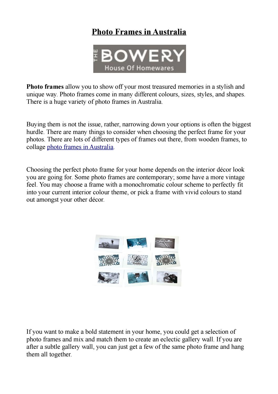 Photo frames in Australia - The Bowery by The Bowery - issuu