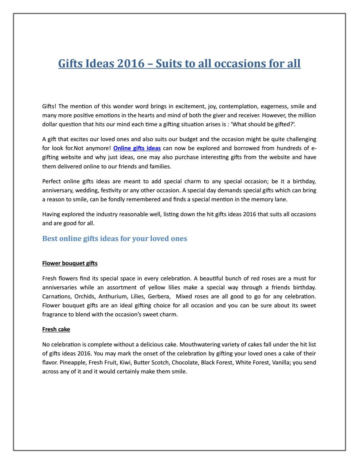 Gifts ideas 2016 – Suits to all Occasions for All by