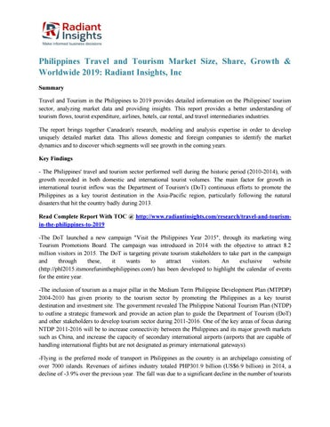 Philippines travel and tourism market growth & worldwide