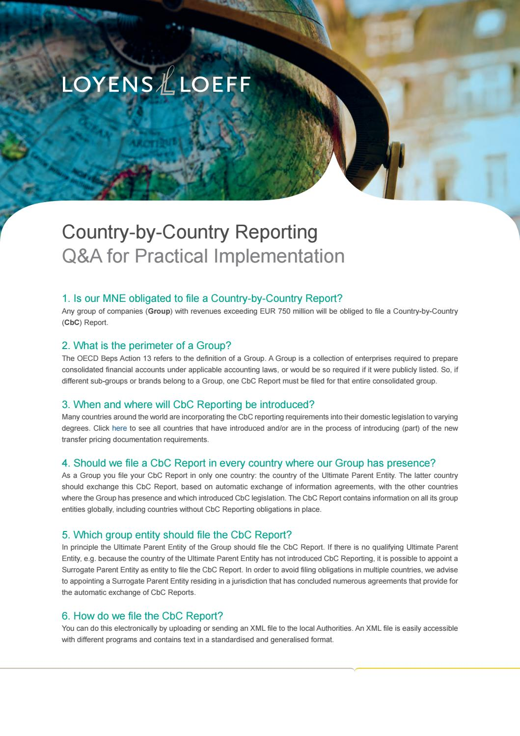 Country By Country Reporting Q A For Practical Implementation By Loyens Loeff Issuu