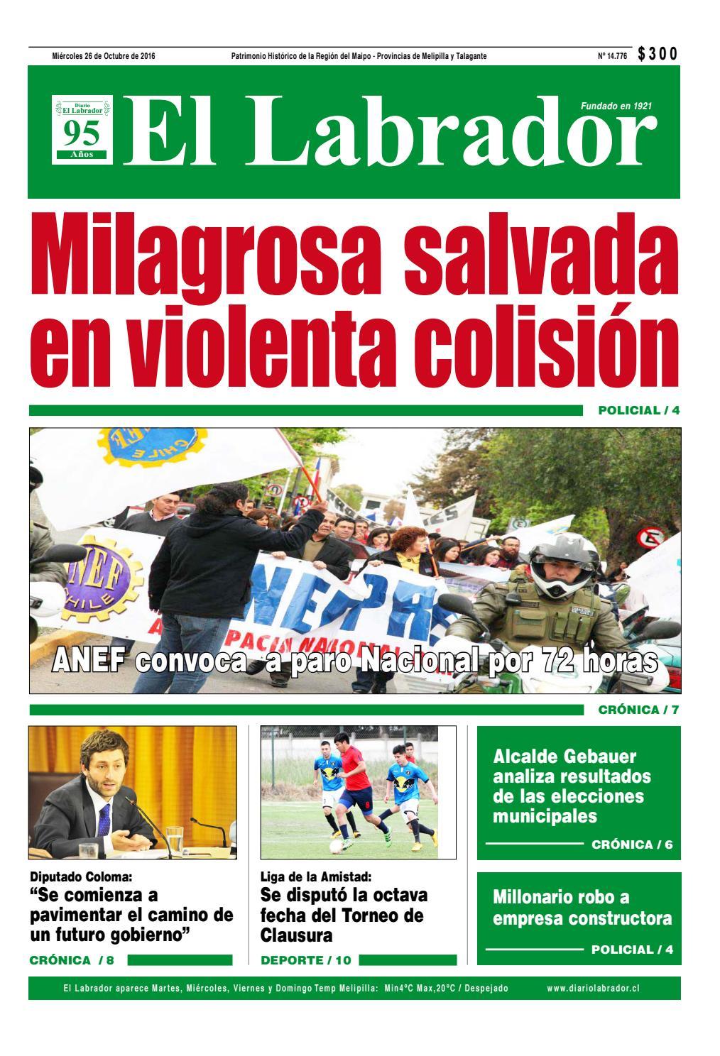 Diario miércoles 26 octubre by Diario El Labrador - issuu