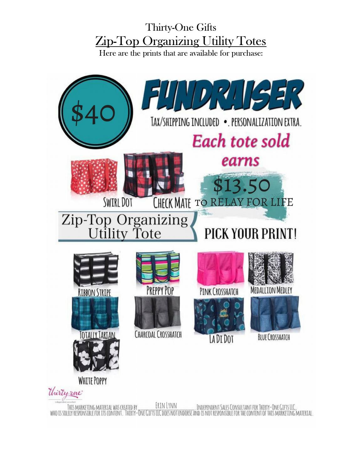 Relay For Life Fundraiser Zip Top Organizing Utility Tote Booklet