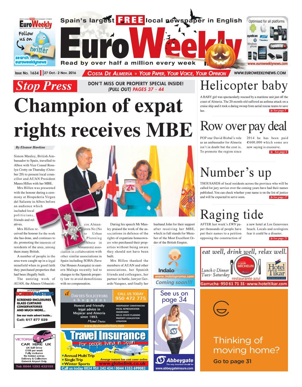 Euro Weekly News   Costa de Almeria 40 October   40 November 40016 ...