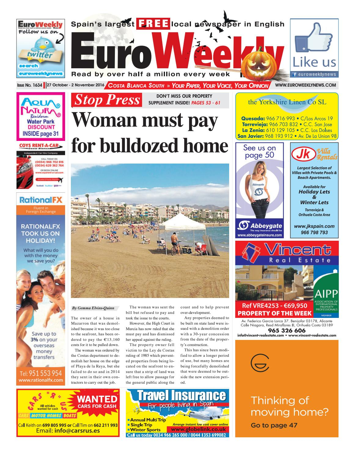 Euro Weekly News   Costa Blanca South 40 October   40 November 40016 ...