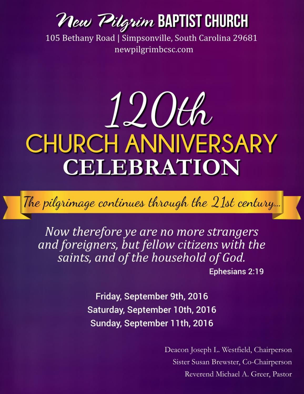 120th church anniversary booklet by new pilgrim baptist
