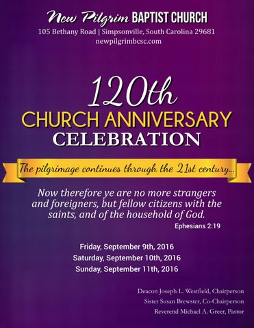 120th church anniversary booklet by new pilgrim baptist church issuu it gives me great pleasure to welcome you to our 120th anniversary celebration we have looked forward to this special celebration with great anticipation m4hsunfo