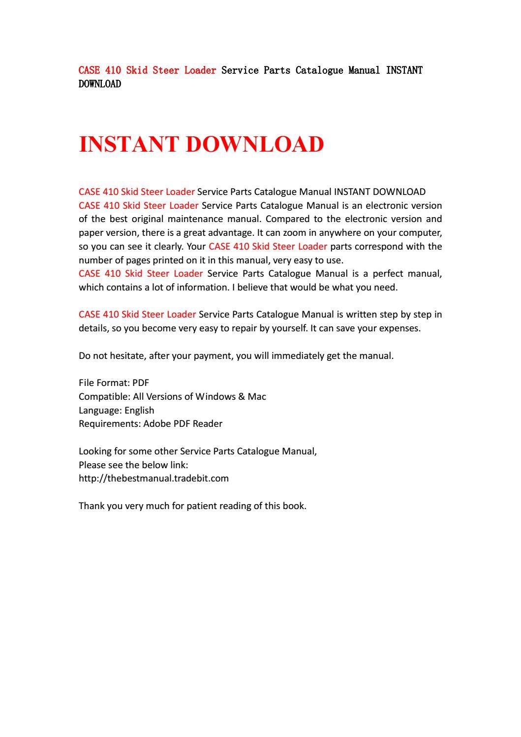 Case 410 Skid Steer Loader Service Parts Catalogue Manual