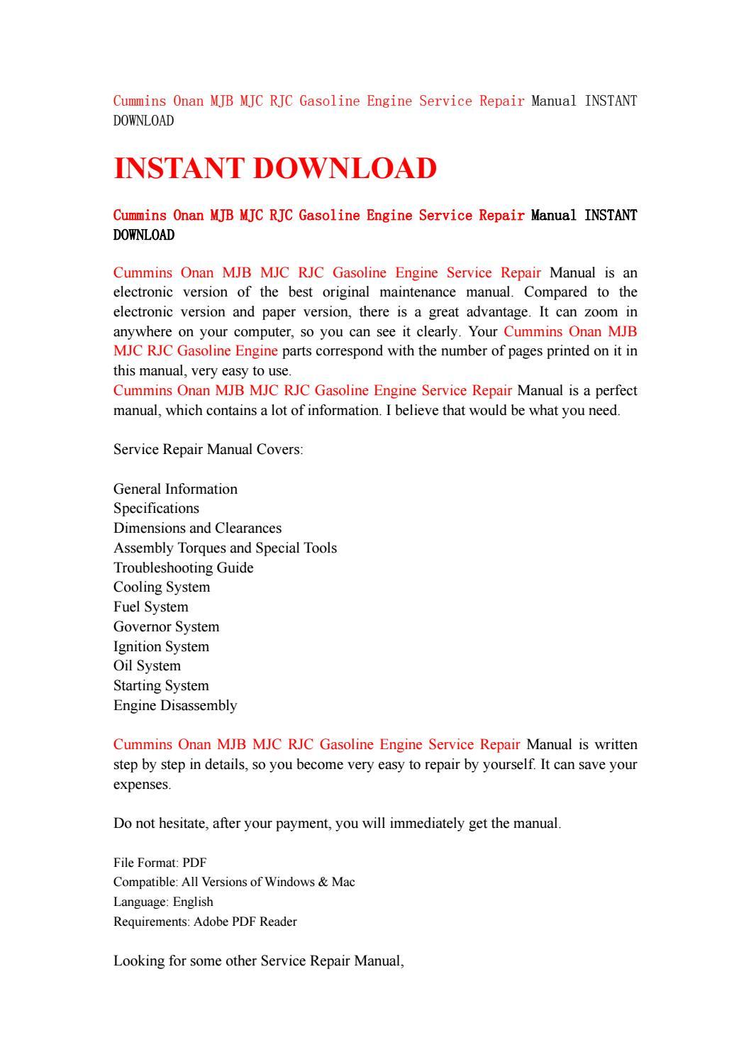 Cummins onan mjb mjc rjc gasoline engine service repair manual instant  download by kmsjefnne - issuu