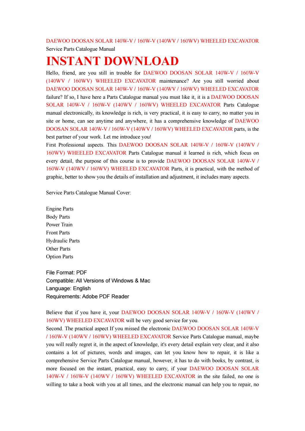 Daewoo doosan solar 140w v 160w v (140wv 160wv) wheeled excavator service  parts catalogue manual by kmsjefnne - issuu