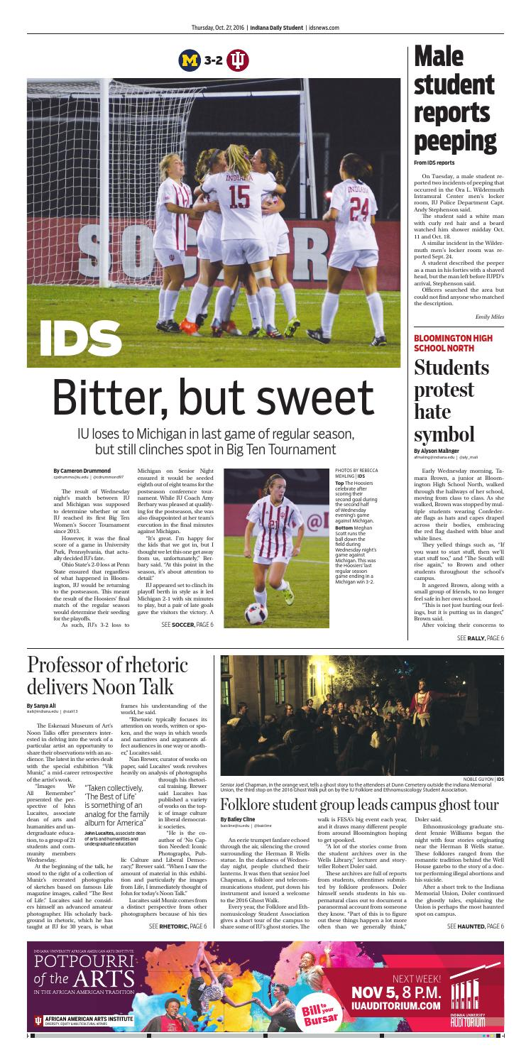Thursday, Oct  27, 2016 by Indiana Daily Student - idsnews - issuu