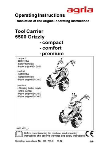 Agria 5500 Grizzly Intruksjonsbok Brukerveiledning By Maskin