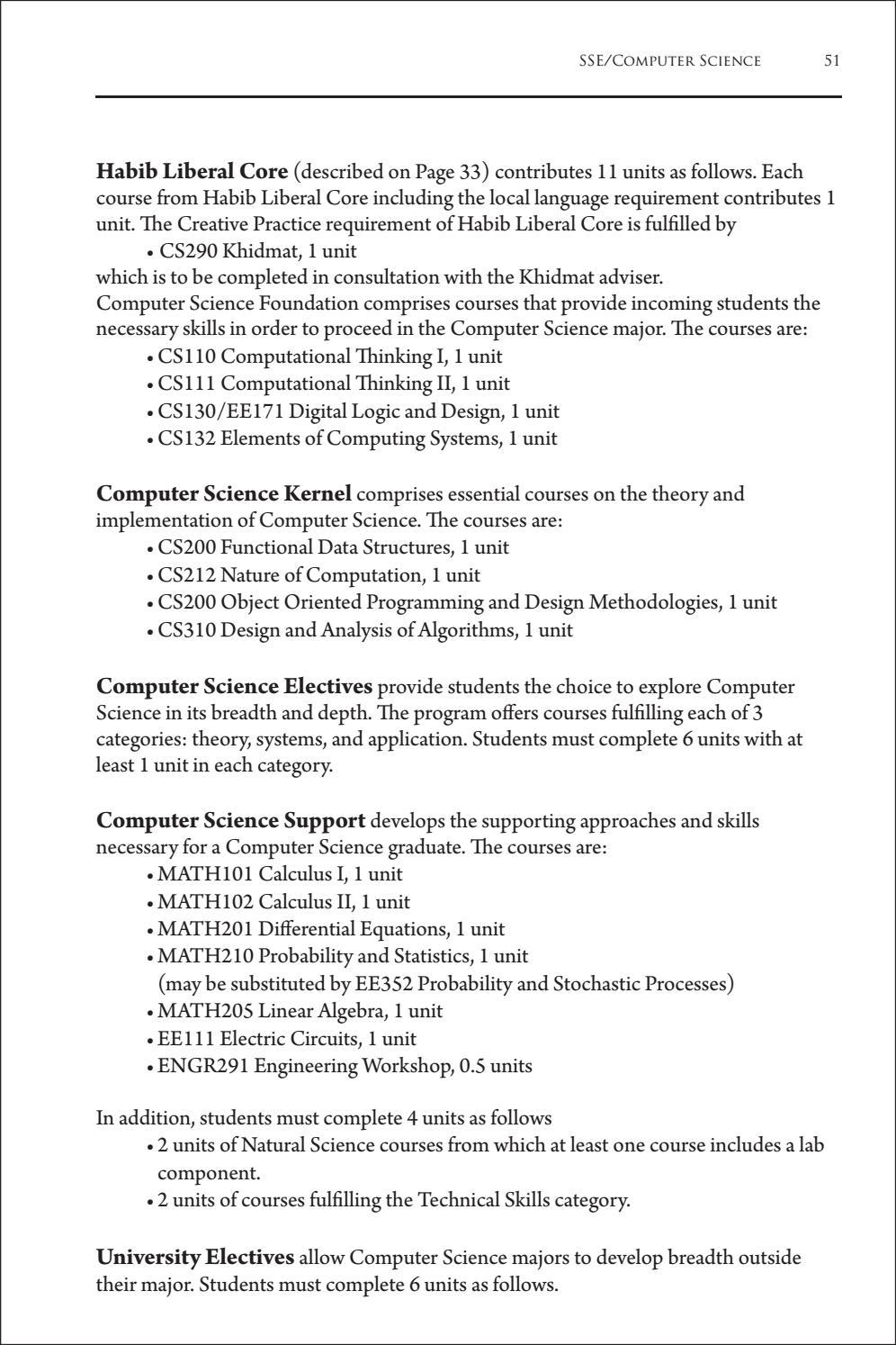 Habib University - Course Catalog 2015/2016 by Habib