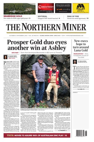 165 Niocorp Appoints Mr Mark A Smith  >> The Northern Miner October 31 2016 Issue By The Northern
