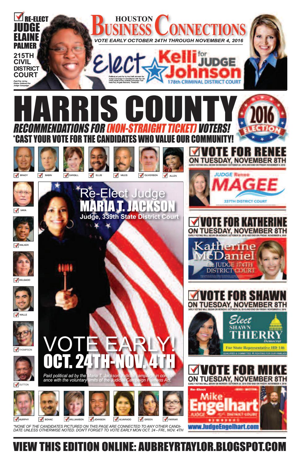 District judge 174th judicial district - 2016 Early Voting Edition Of Houston Business Connections Newspaper By Aubrey R Taylor Communications Issuu