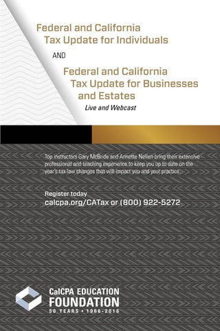 Federal and California Tax Updates for Individuals and