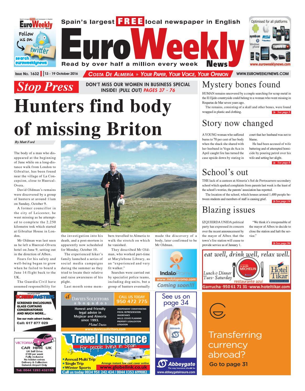 Euro Weekly News Costa De Almeria 13 19 October 2016 Issue  # Muebles Nunez Turre