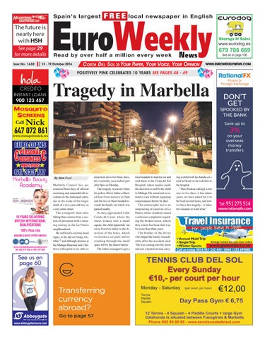Euro weekly news costa del sol 13 19 october 2016 issue 1632 by page 1 fandeluxe Choice Image